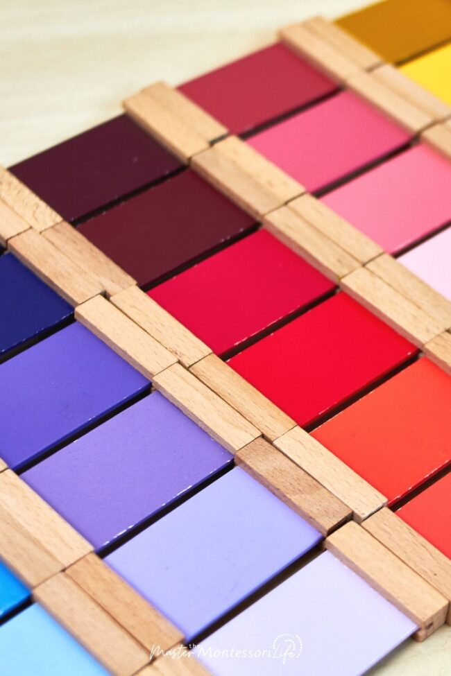 Montessori Sensorial Color Activities for Kids is a post about what we do with our four Montessori Boxes.